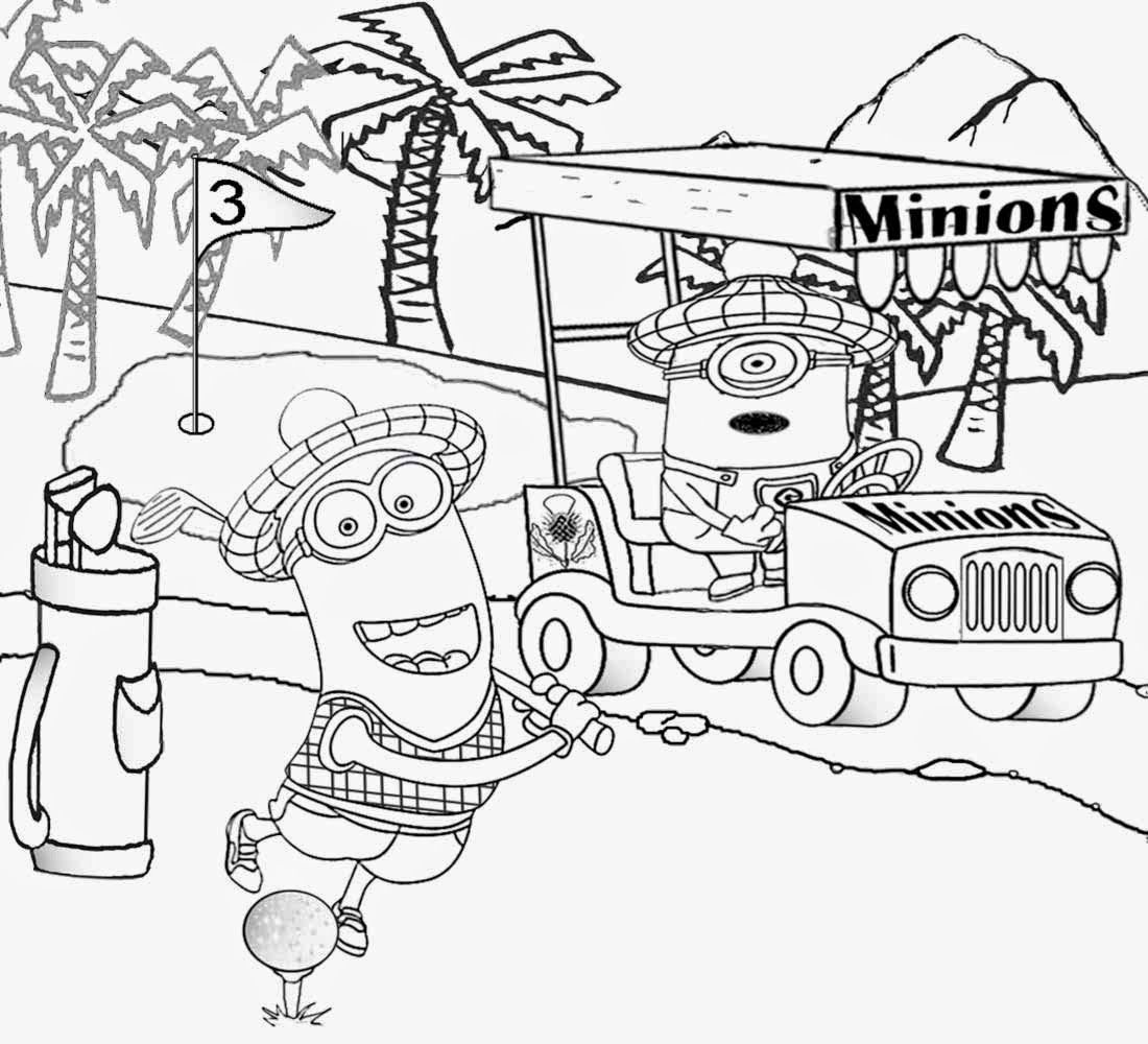 Best Kids Movie Despicable Me Coloring Golf Minion
