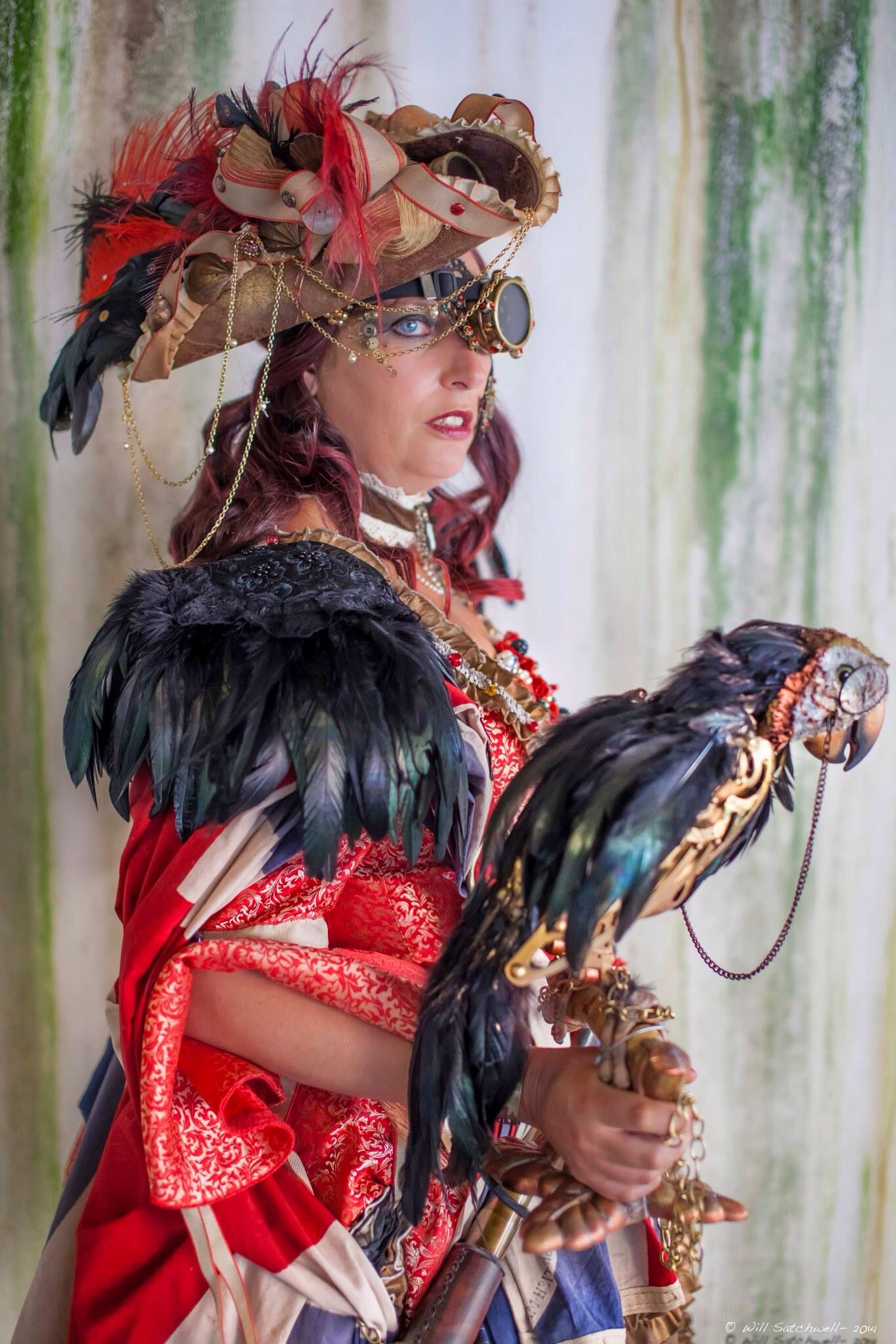 Steampunk pirate and robotic parrot Pirate costumes