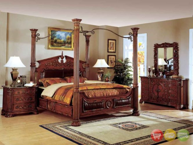 Romeo Cherry Poster Canopy Traditional Bedroom Furniture Set