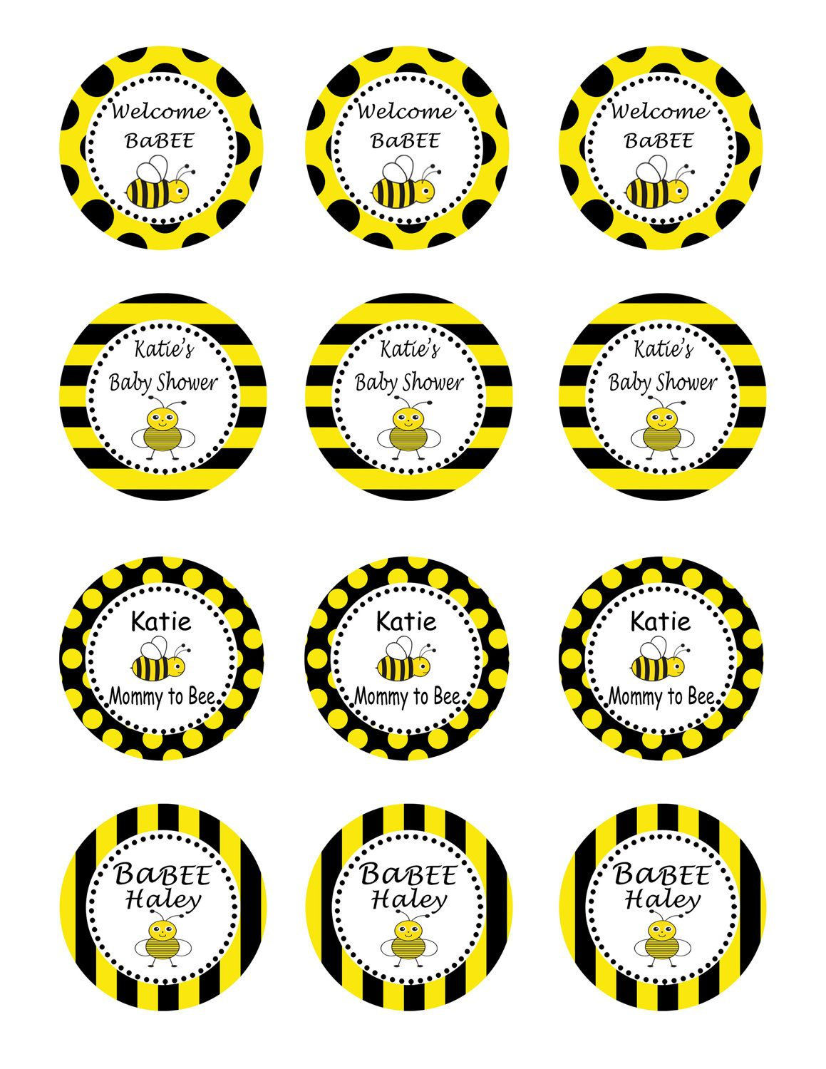 Bumble Bee Baby Shower Party Diy Printable Circles 10 00