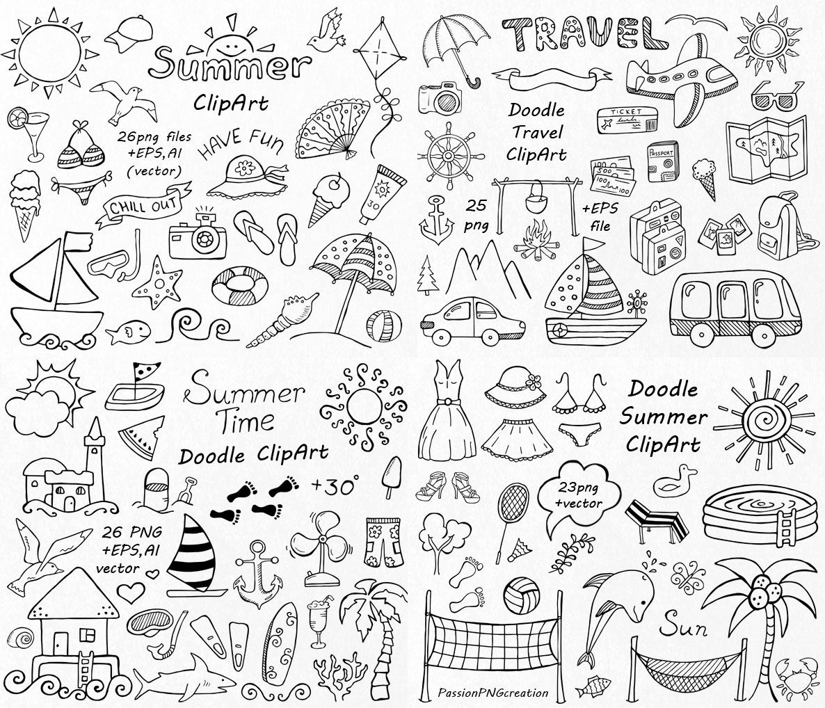Big Set Of Doodle Summer Cliparts Hand Drawn By