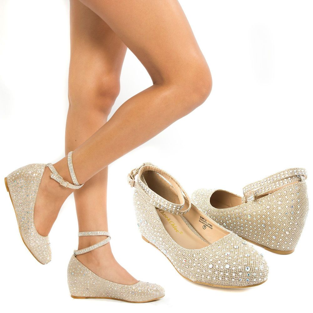 New Gold Ankle Strap Crystal Wedge Med Low Heel Pump