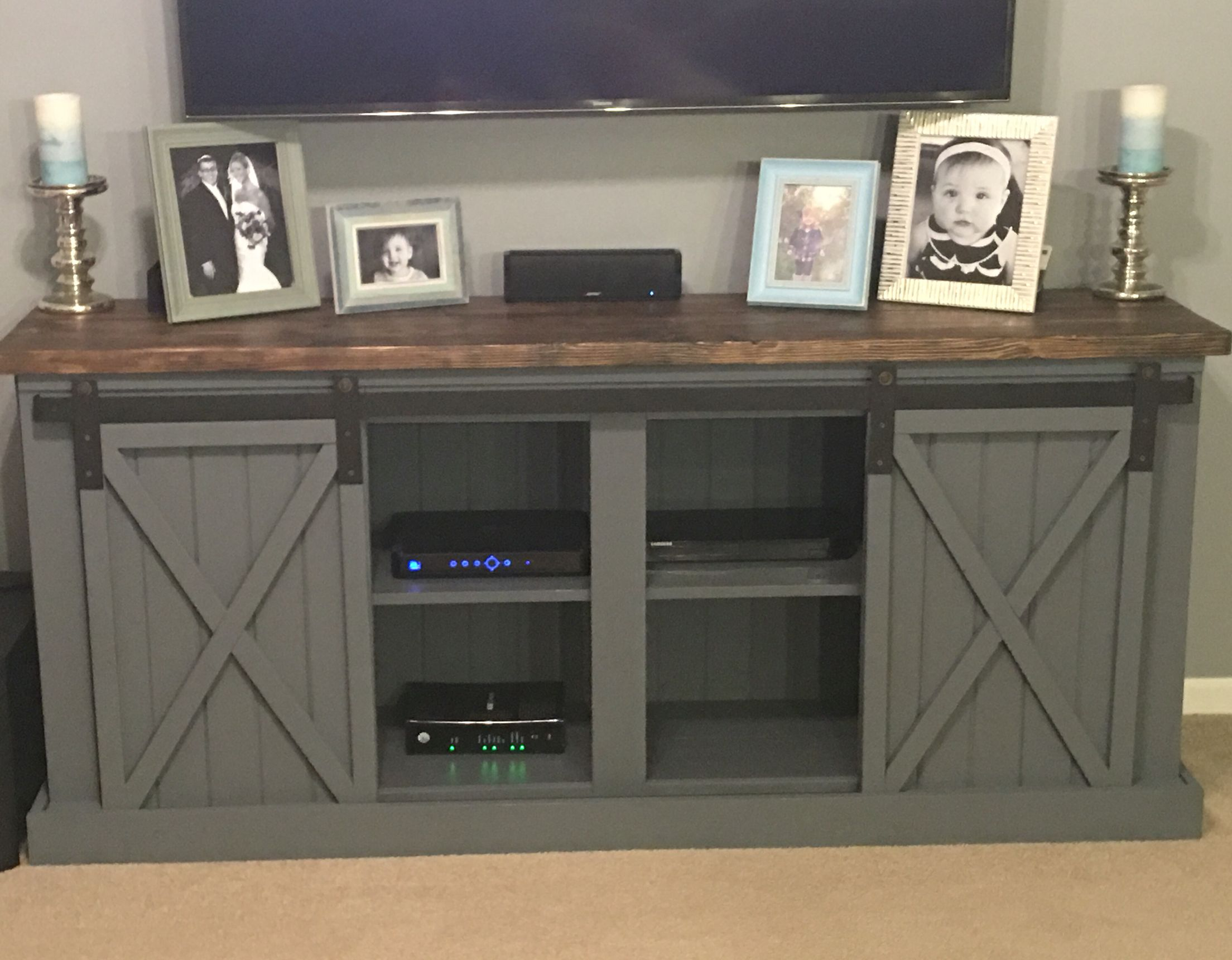 Our custom built entertainment center from NinaV