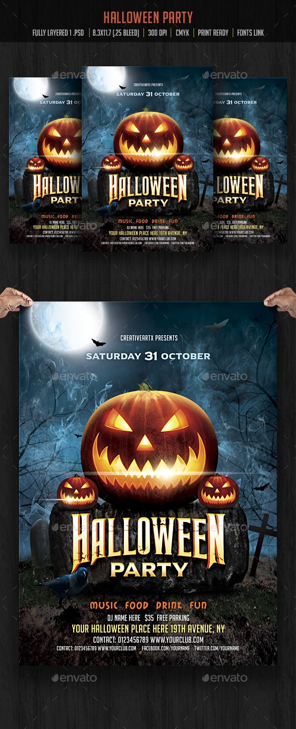 Halloween Party Flyer Flyer template, Halloween and