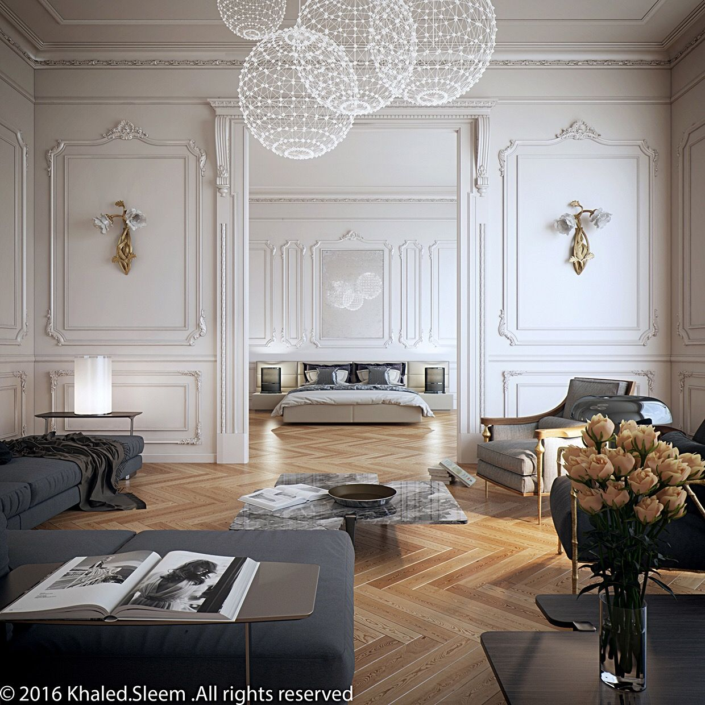 Living room/ bedroom, camel floors, white walls, grey