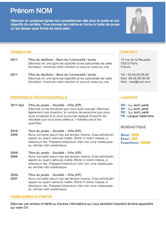 Modèle de cv gratuit CV Moderne 001 Créer un CV CV