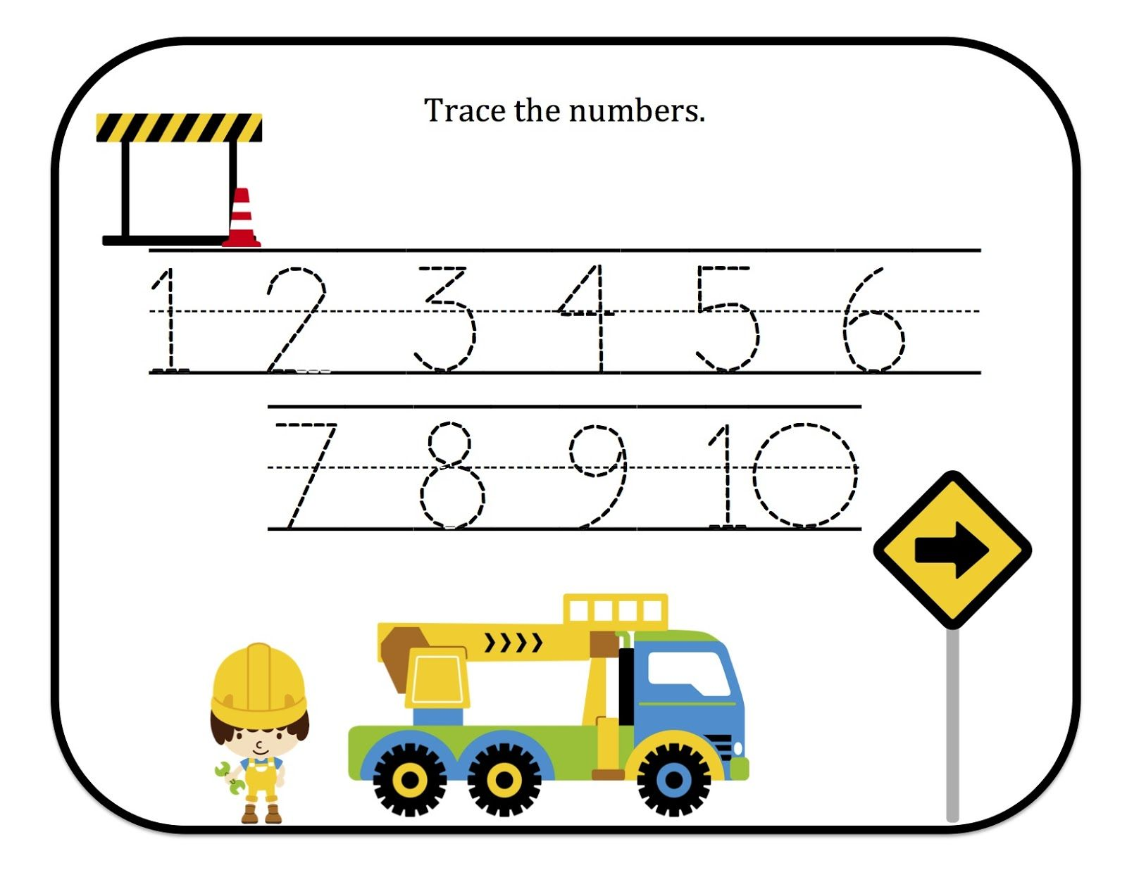 Preschool Printables Construction Number Tracing Printable