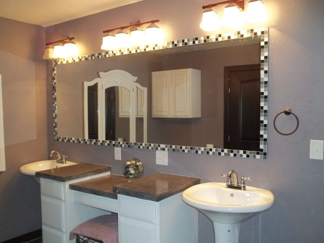 Glass tile mirror frame 2 pedestal sinks custom vanity