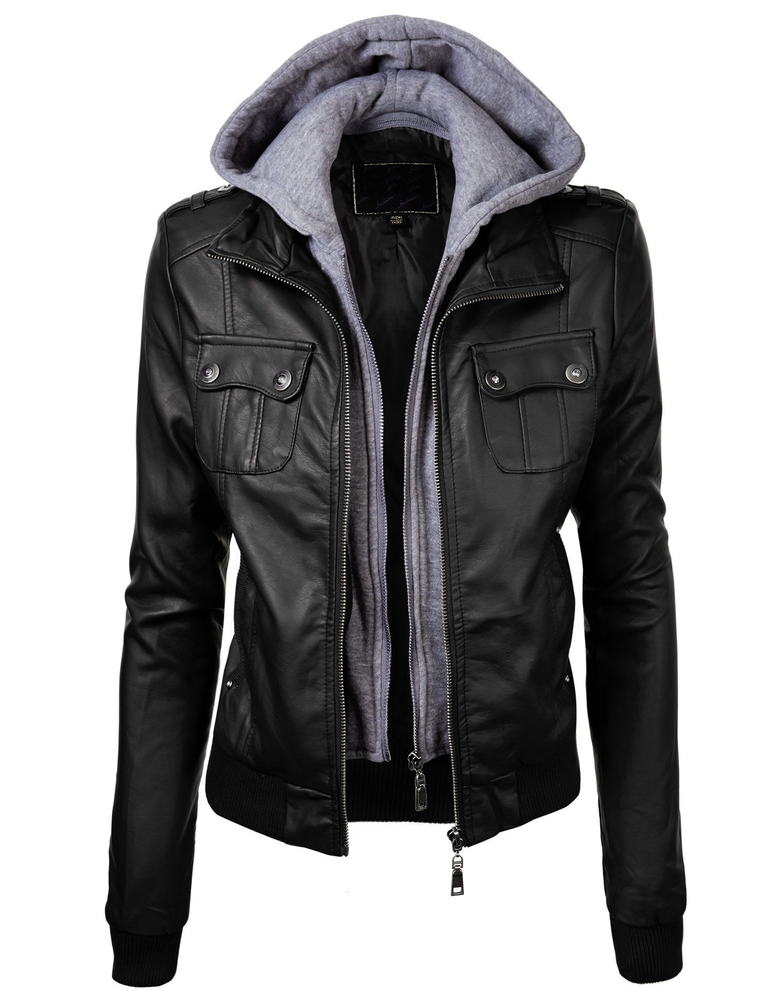 Lock and Love Women's Double Hoodie Faux Leather Jacket L