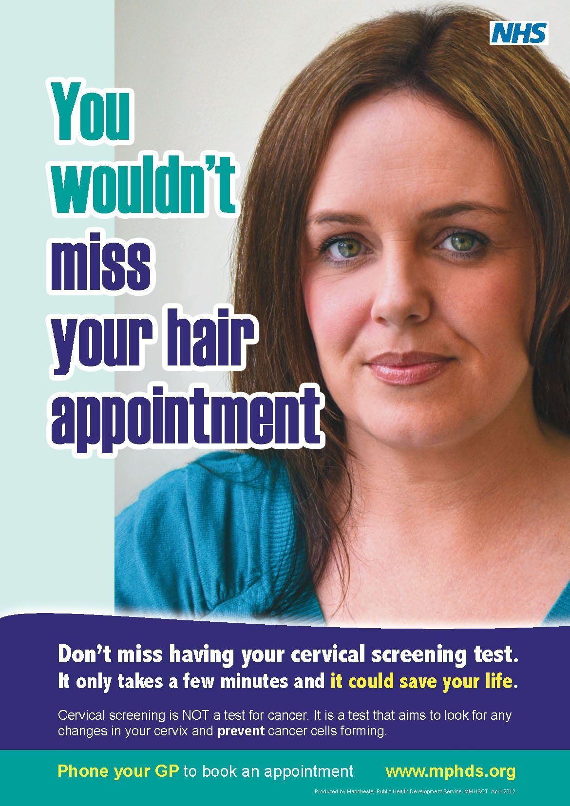Cervical Screening awareness poster from Manchester Public