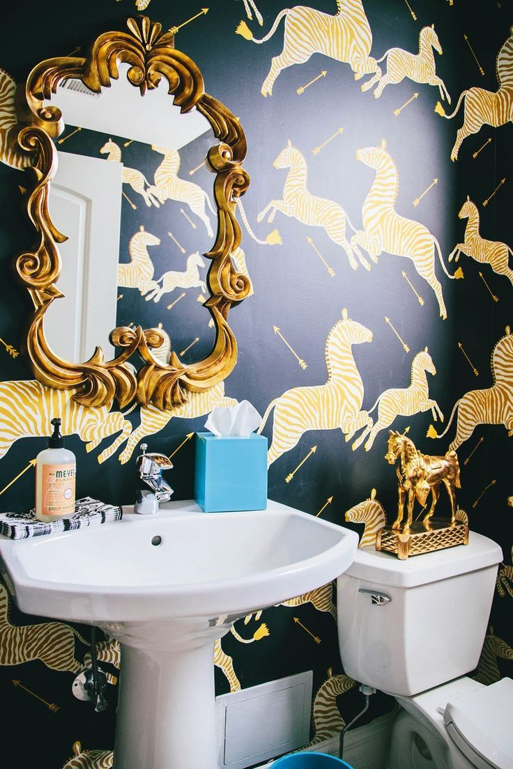 Feel Free To Use Bold Patterns And Loud Colors In A Windowless Bathroom Or Powder Room