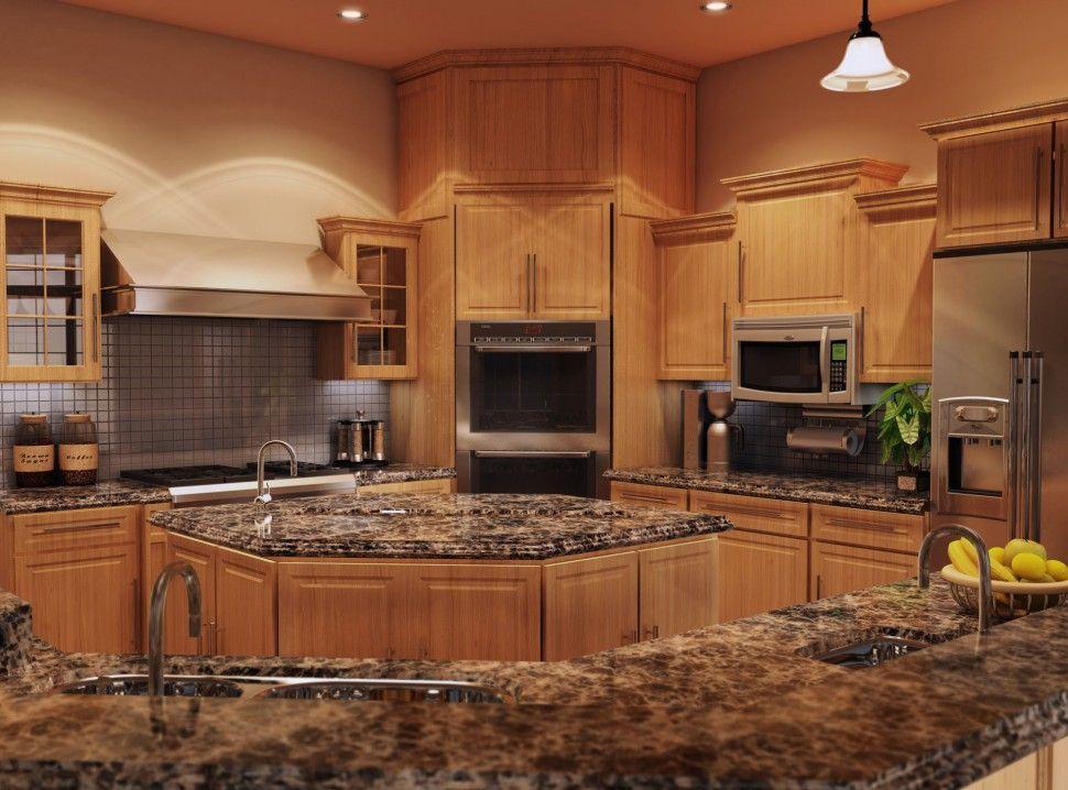 Kitchen Quartz Countertops With Oak Quartz