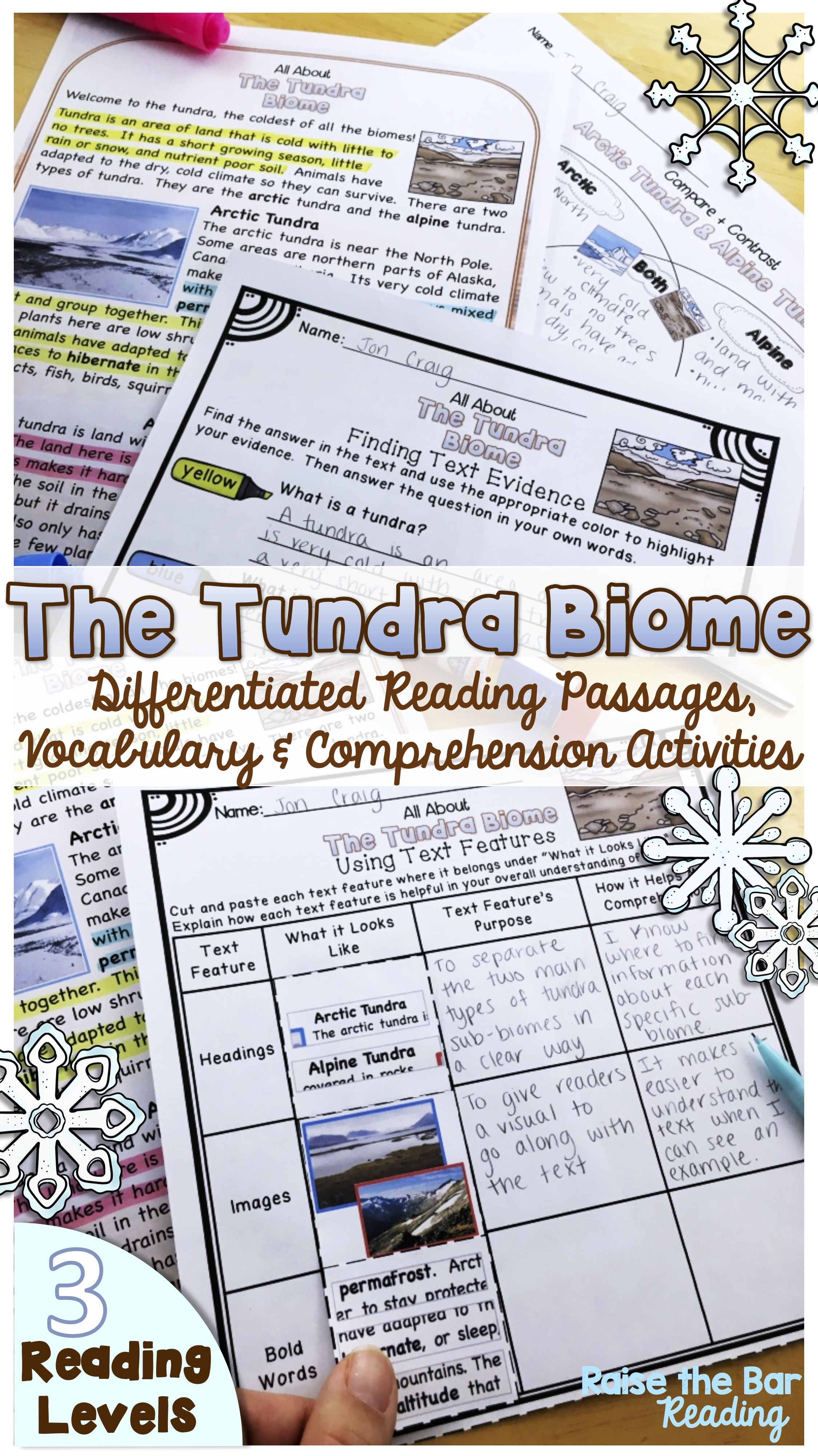 Biomes The Tundra Reading Passages 3 Levels Vocabulary Amp Comprehension