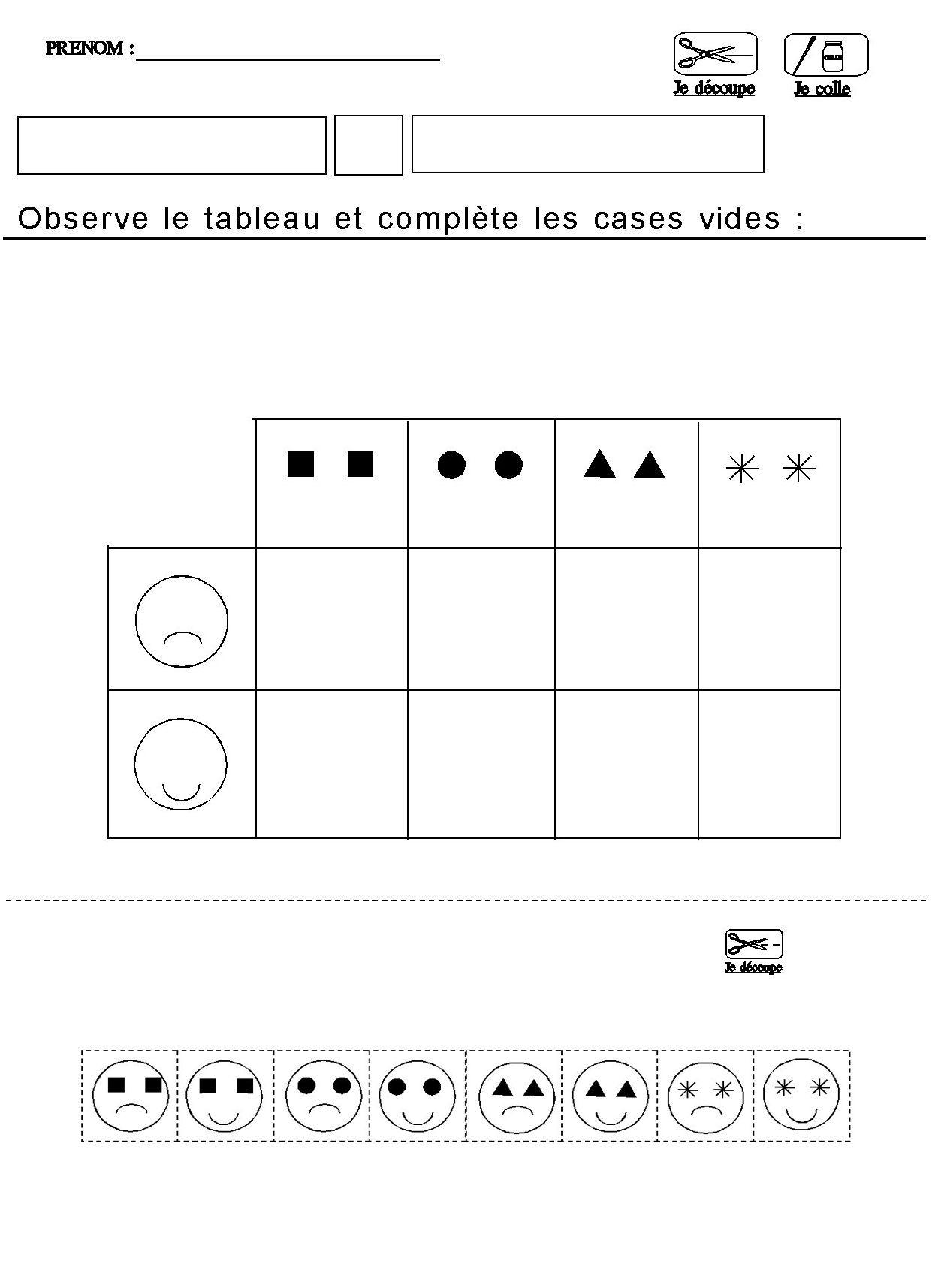 Tableau Double Entrees Pour Maternelle Moyenne Section