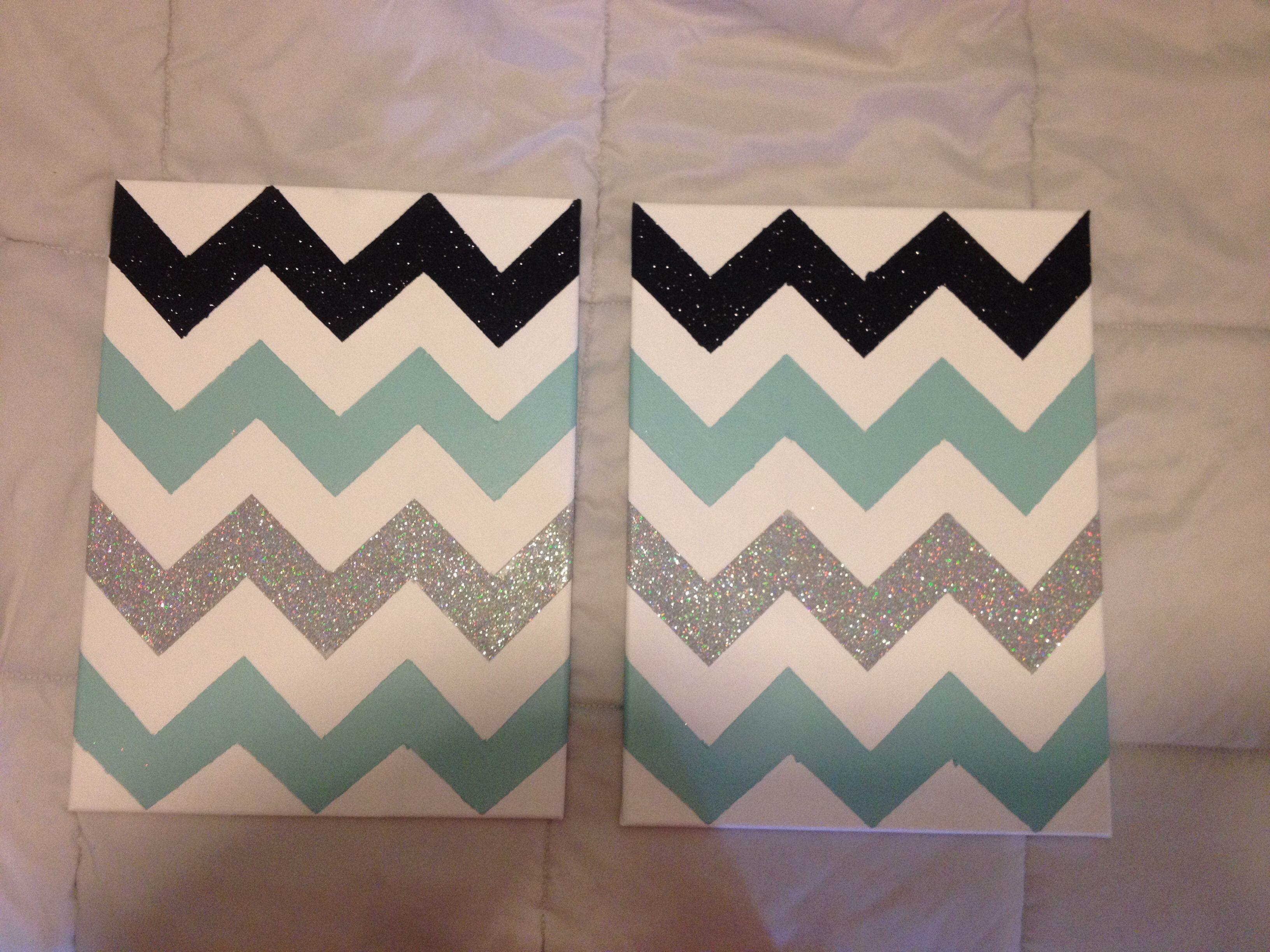 DIY chevron canvas! Make your chevron pattern, tape off