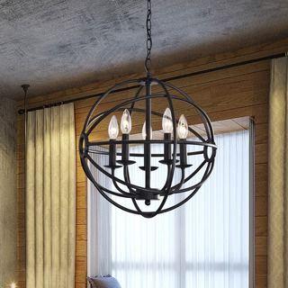 Benita Antique Black Metal Sphere 4 Light Crystal Chandelier Bronze
