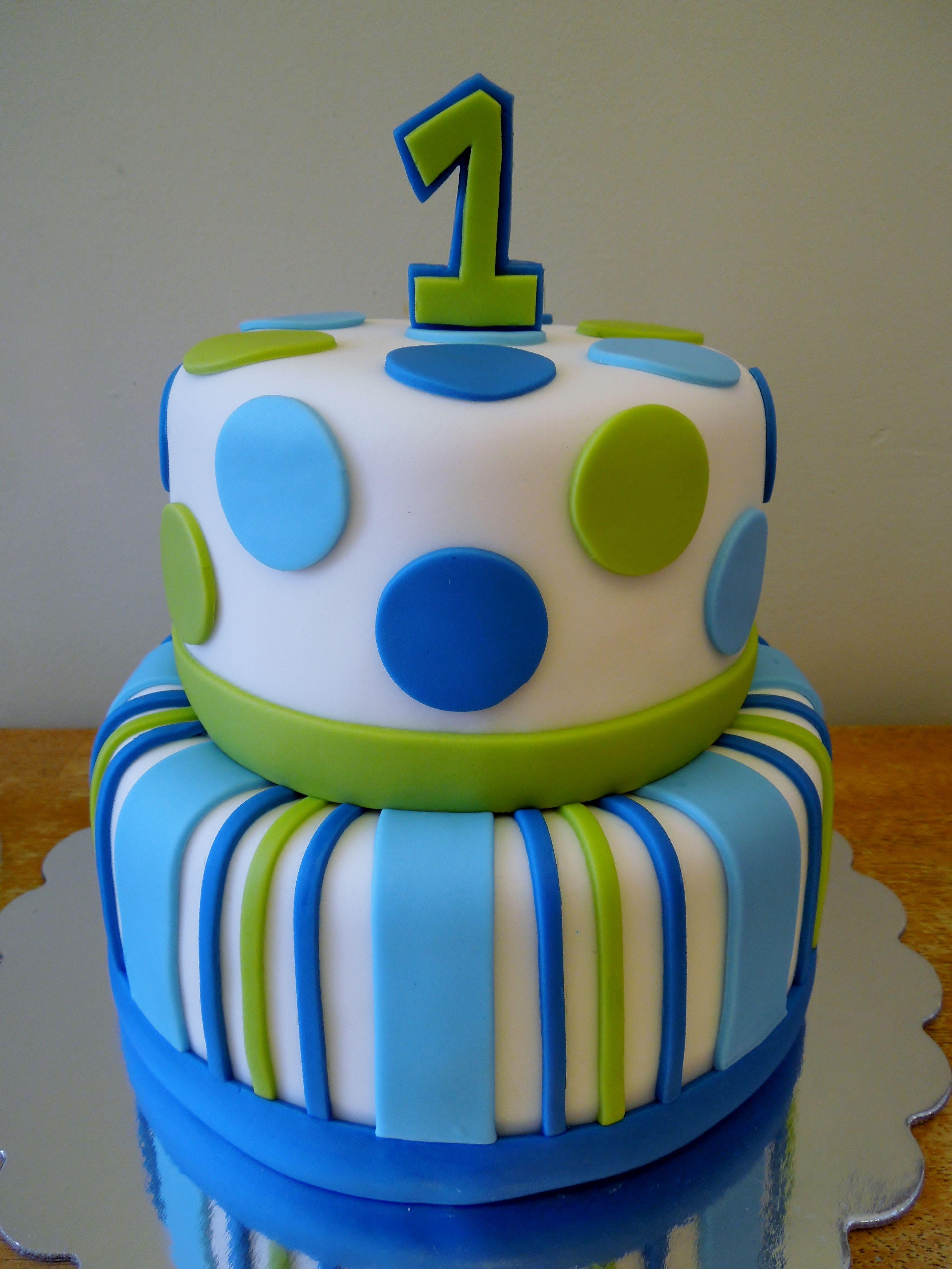 Stripes & Dots Boys 1st Birthday 2 tier vanilla cake