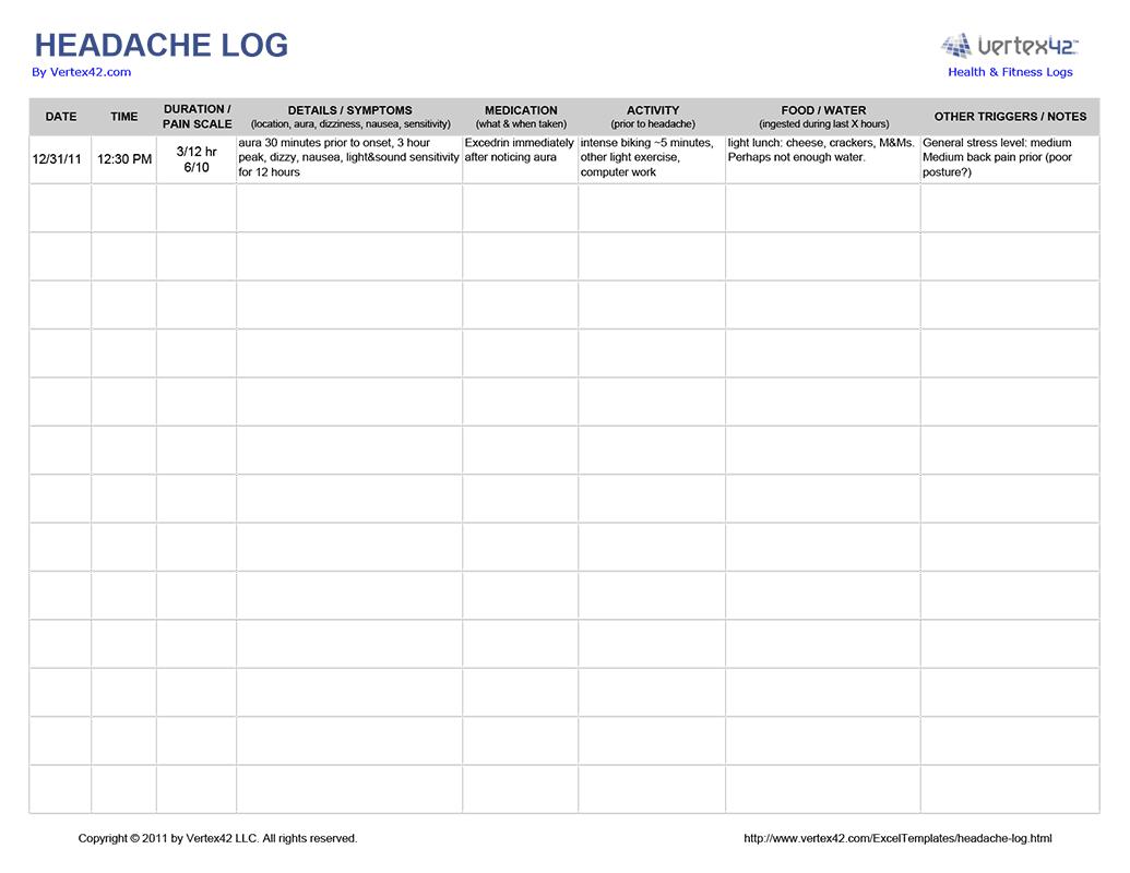 Headache Journal Worksheet