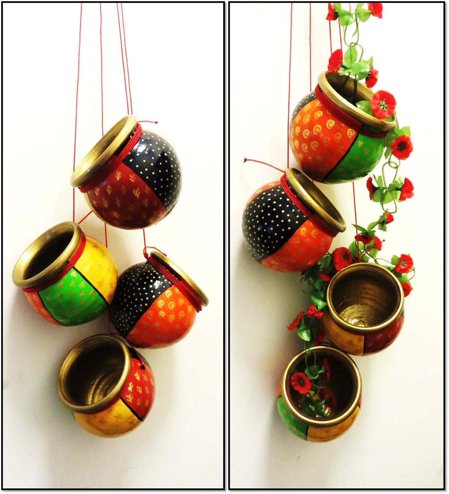 Indian Hand Painted Clay Pots have hand painted lots of