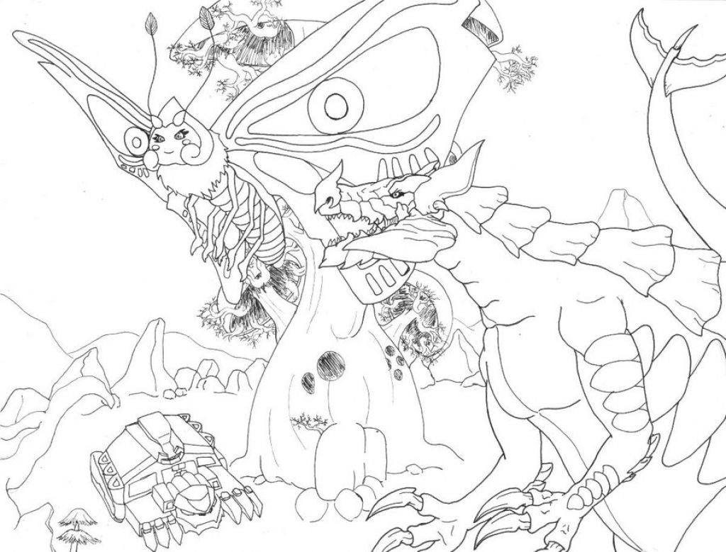 A World Full Of Monster And Godzilla Coloring Page