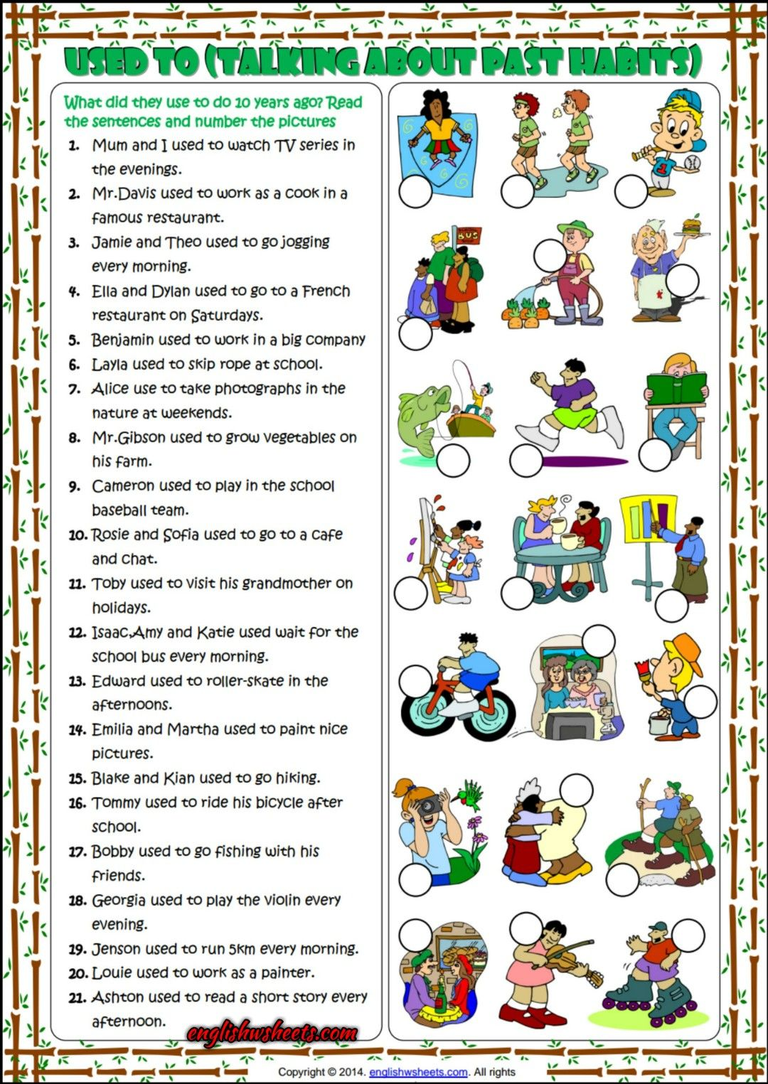 Used To Past Habits Matching Exercise Esl Worksheet