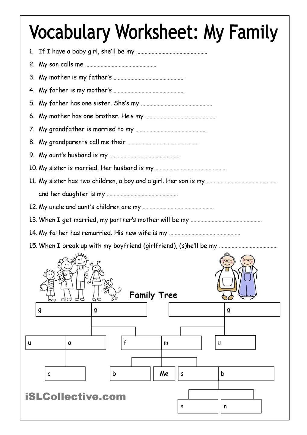 Vocabulary Worksheet My Family (Medium) English 6th