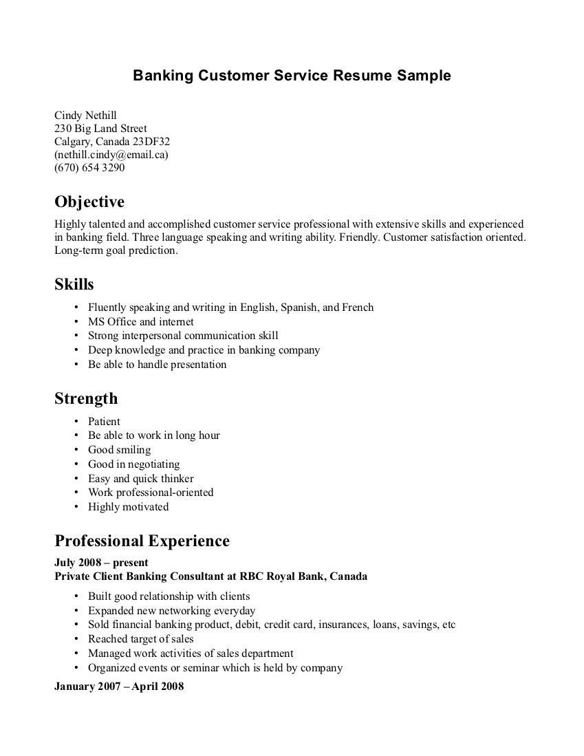customer service representative resume skills objectives in