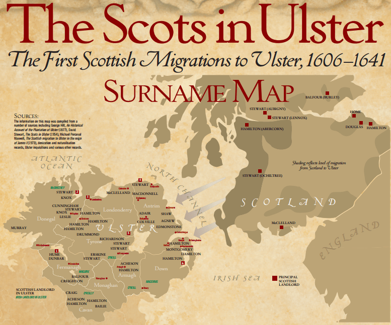 List of Plantation Scots Surnames in Ulster (Click on the