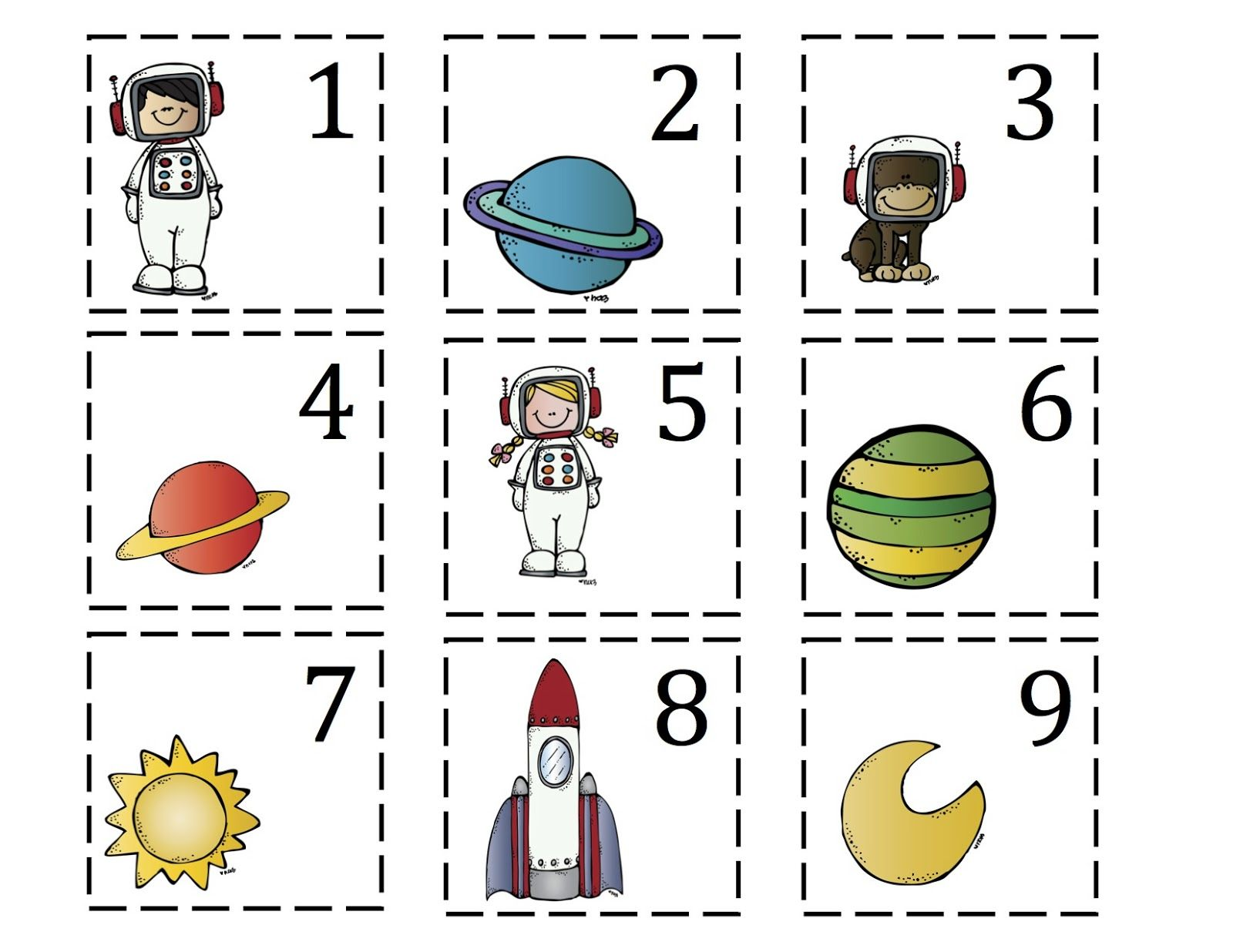 Preschool Printables Rocket To The Moon Number Cards