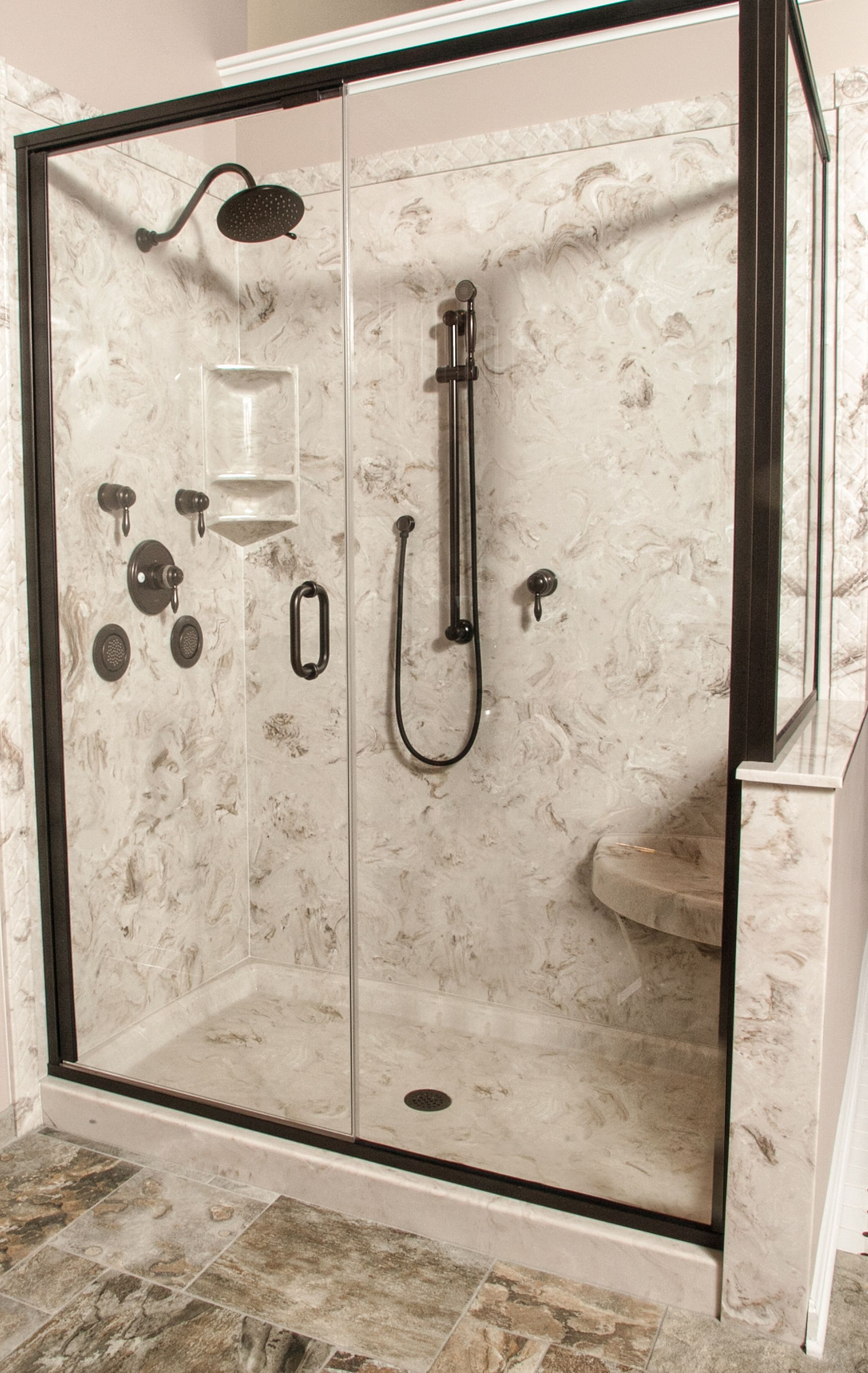 Cultured Marble Shower With Corner Seat Decorative Edge