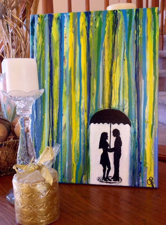 Romantic Painting Of Silhouette Couple Under Umbrella In