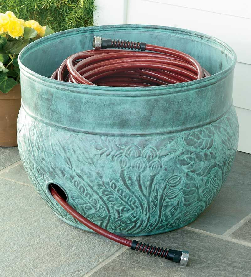 DIY inexpensive hose pot faux finish plastic pot and