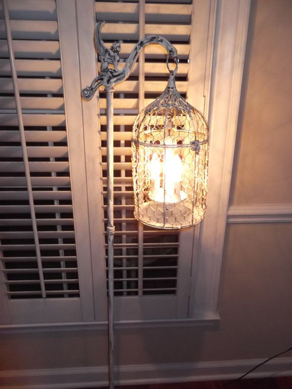 Chandelier Floor Lamp Vintage Bird Cage Light Shabby Chic Chippy French
