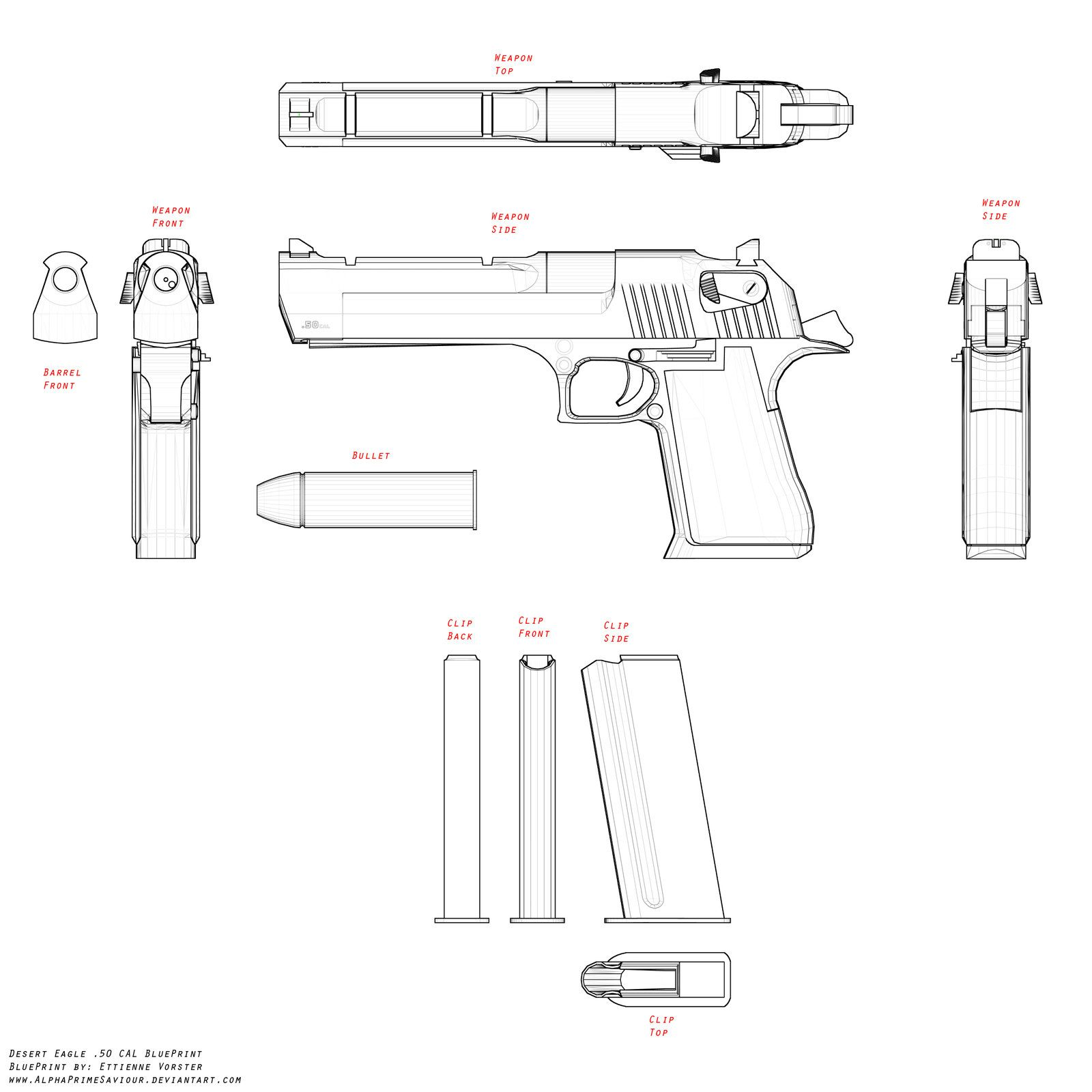 Desert Eagle Blueprint By Alphaprimesaviourviantart
