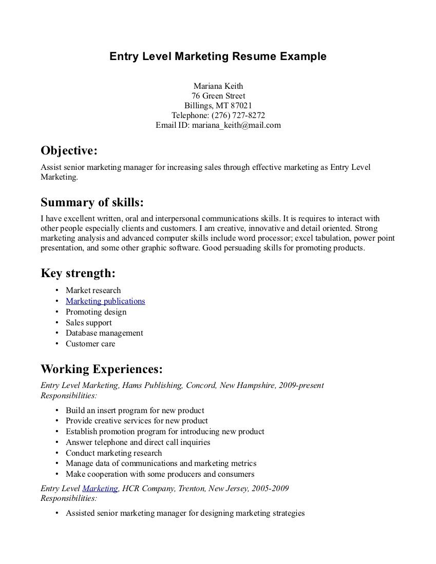 entry level marketing communications resume