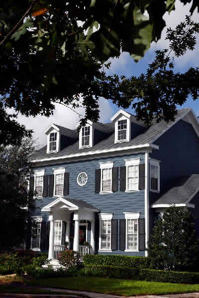 New England Colonial Blue Exterior Inspiration For Front Door Portico On Our Teeny Version Of