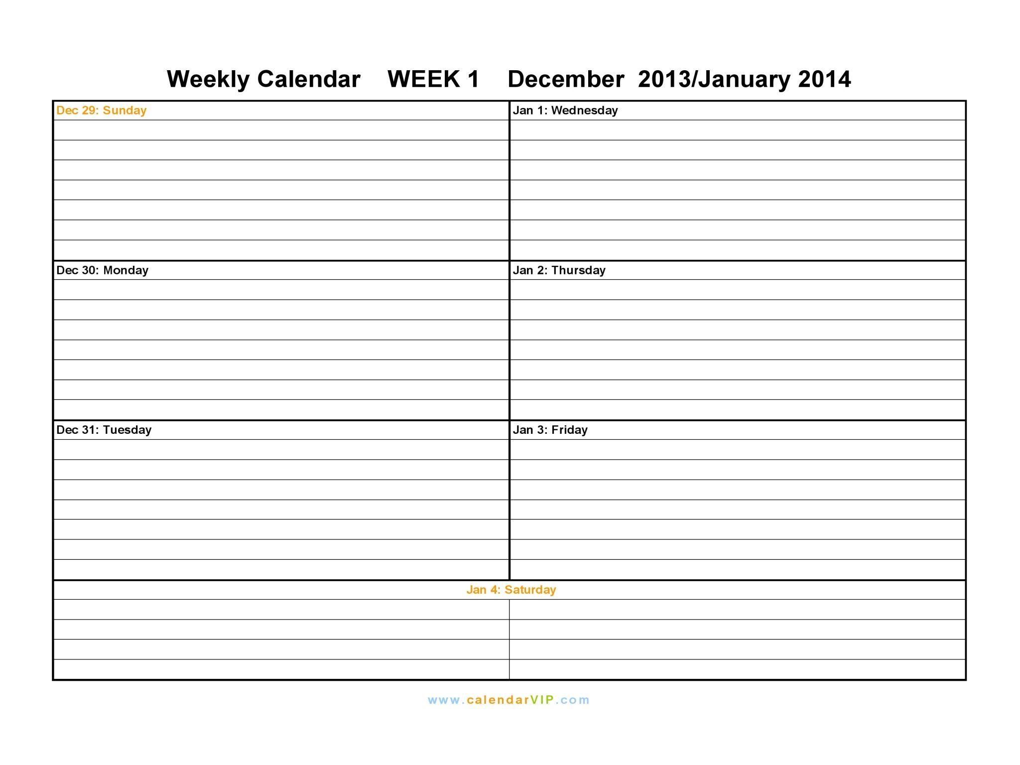 Free Printable Daily Calendars