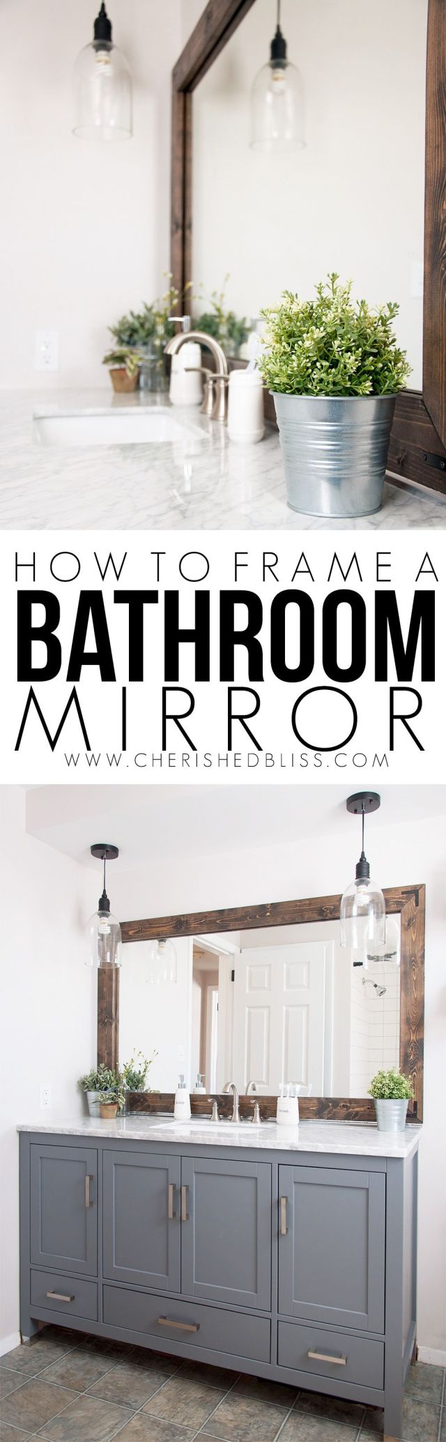 The best tutorial yet on framing a bathroom mirror No nails