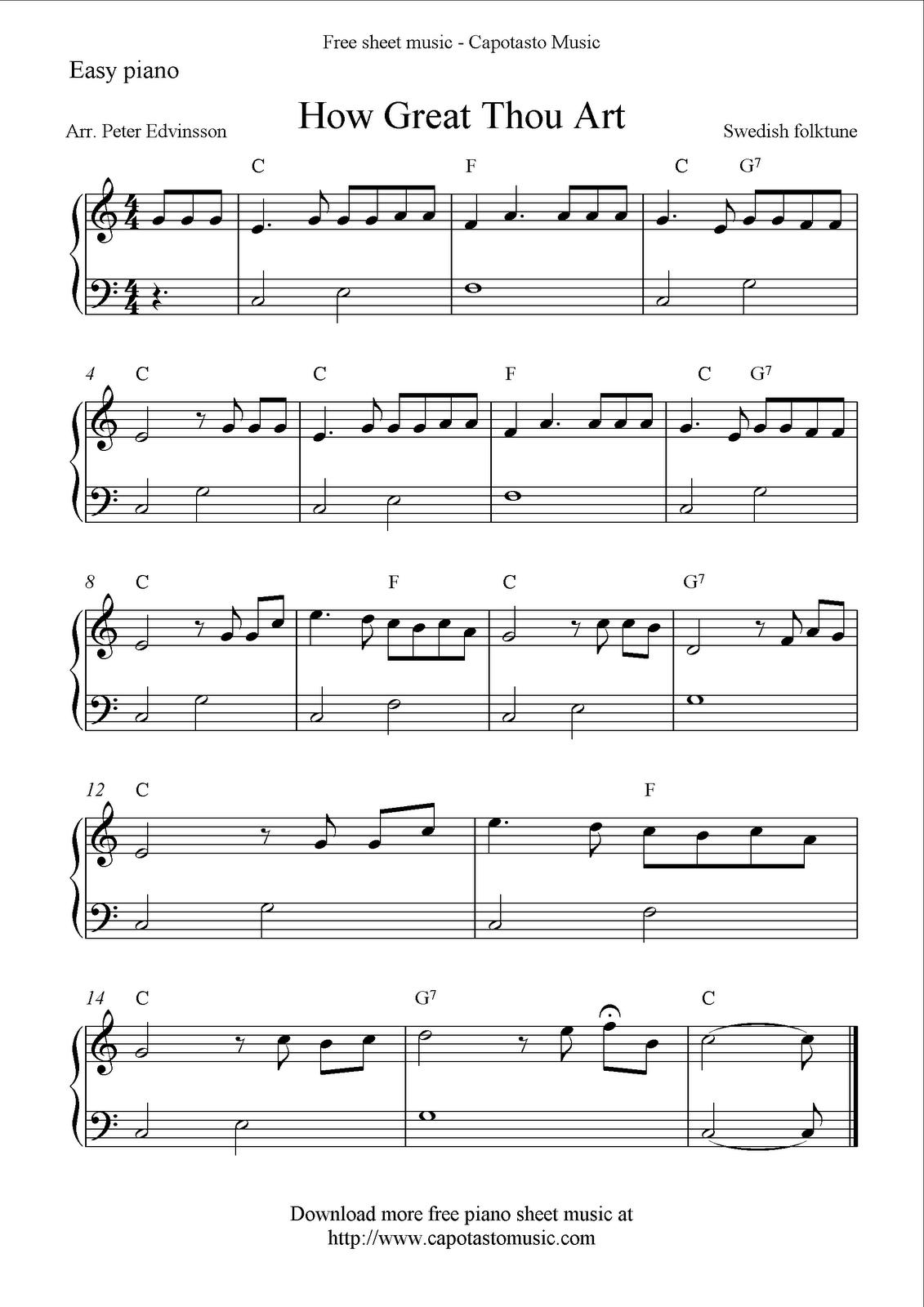 Download printable free easy sheet music scores, guitar