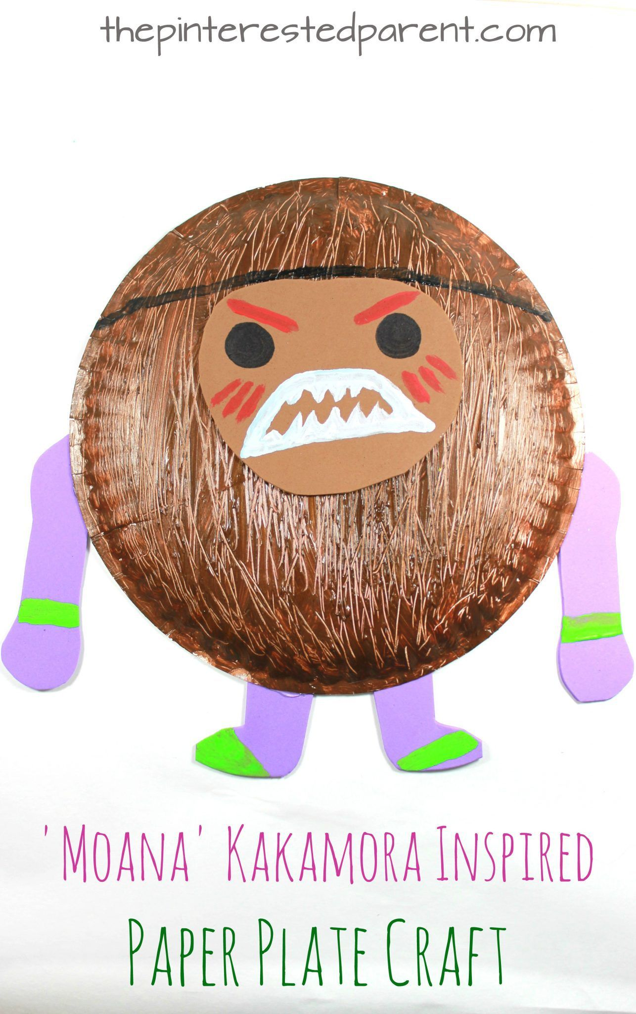 Moana Kakamora Inspired Paper Plate Coconut Pirate Craft Character Arts And Crafts For Kids