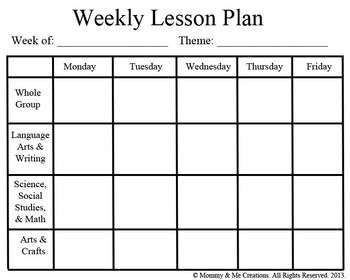 Preschool Planning Template. 1000 images about lesson plan forms ...