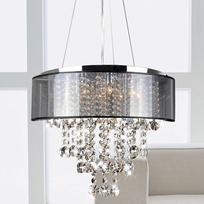 Beautifully Crafted And Featuring A Chrome Finish With Translucent Black Shade This Chandelier Provides Soft Lighting