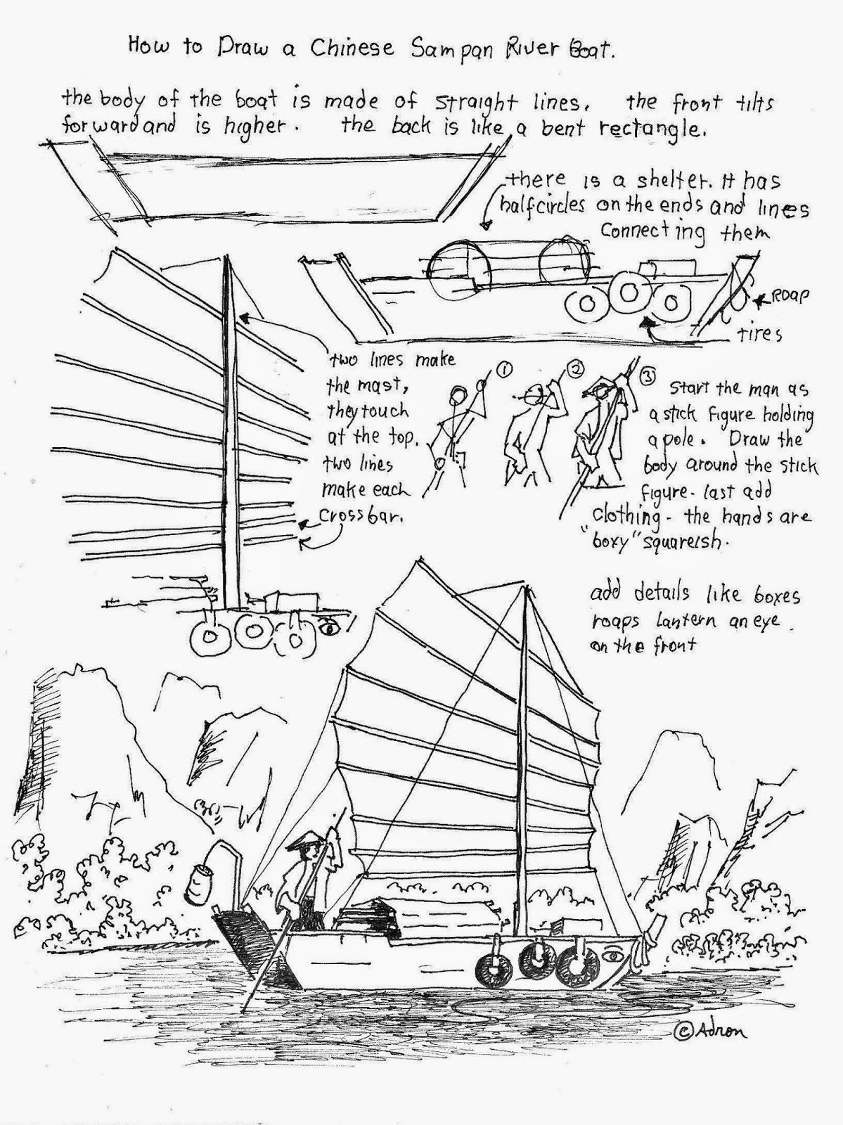 How To Draw A Chinese River Boat Worksheet See Morea At