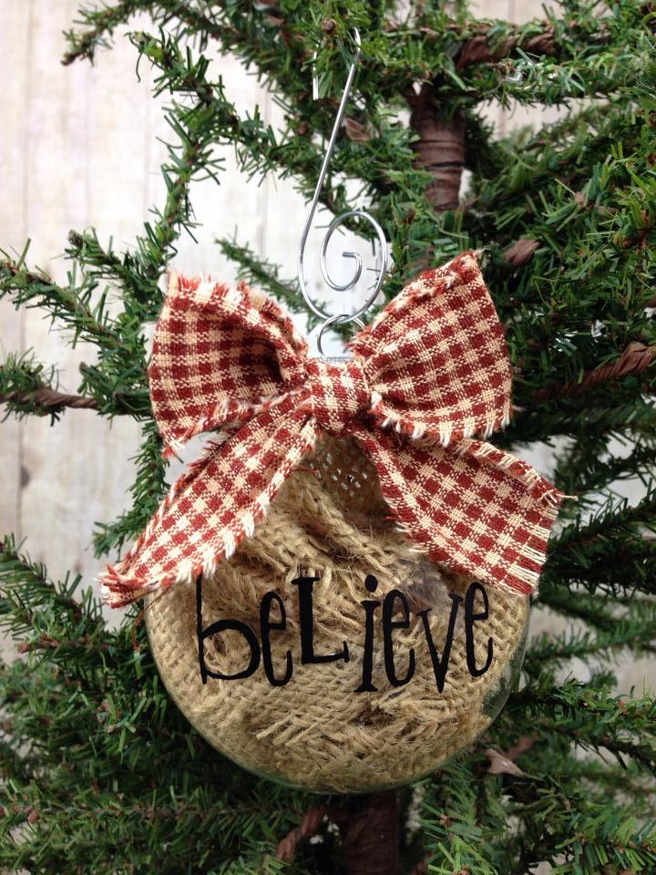 Christmas burlap ornament primitive burlap christmas