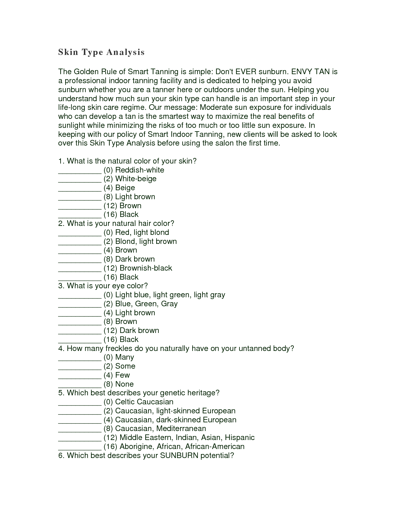 Fitzpatrick Skin Type Worksheet