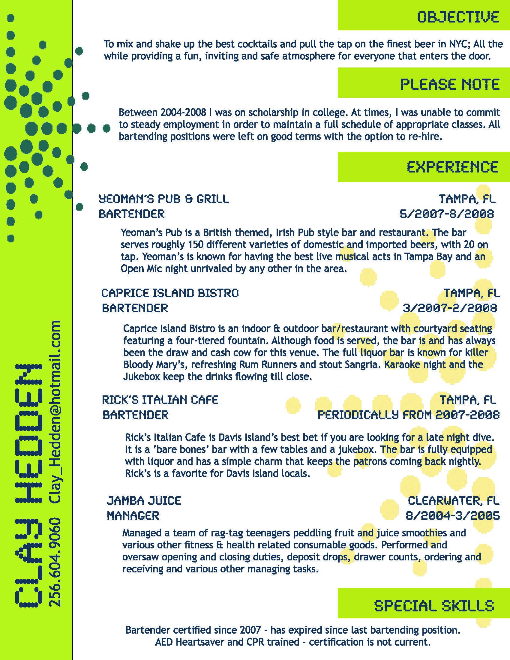 resume templates bartenders and resume on pinterest