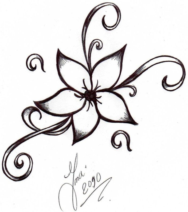 cool easy flower designs to draw on paper | flower tattoo ...