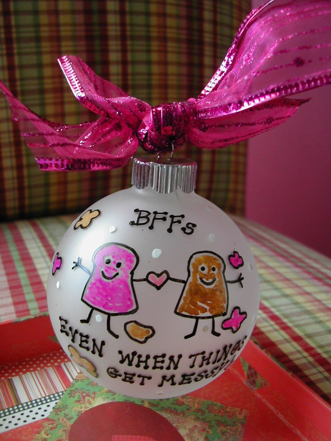 Best friends handpainted glass ornament made to order
