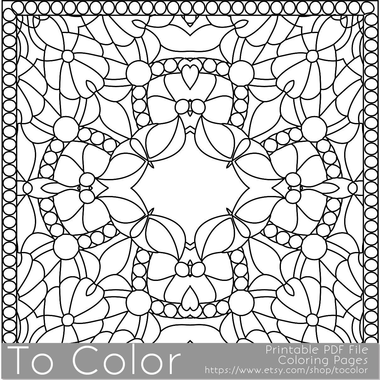 Printable Coloring Pages For Adults Square Coloring Pattern Instant Download