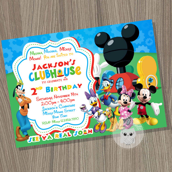 Mickey Mouse Clubhouse Invitation, Mickey Mouse Birthday